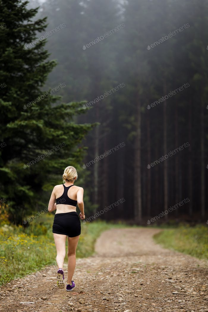 Jogger Training in Forest early in the Morning.