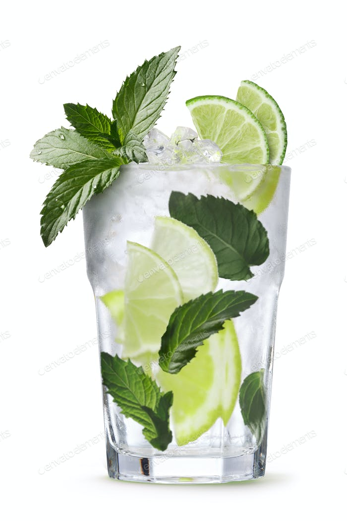 Mojito cocktail isolated, clipping paths