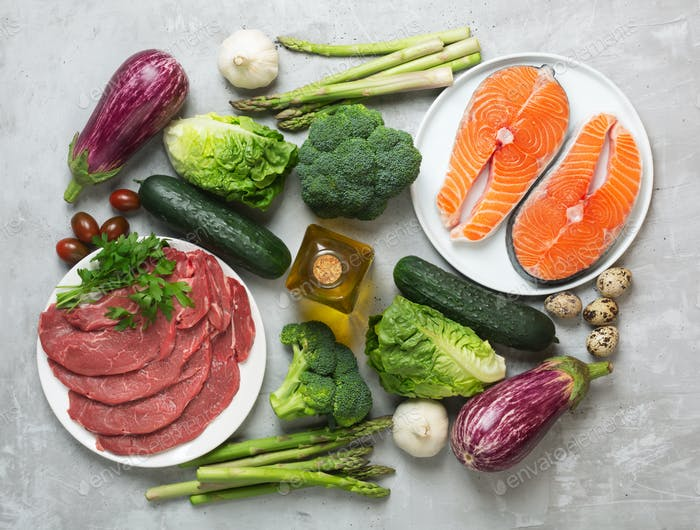 Atkins Diet food ingredients on concrete background, health concept, top view, flat lay