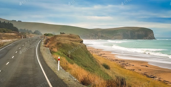 Empty road along New Zealand coast