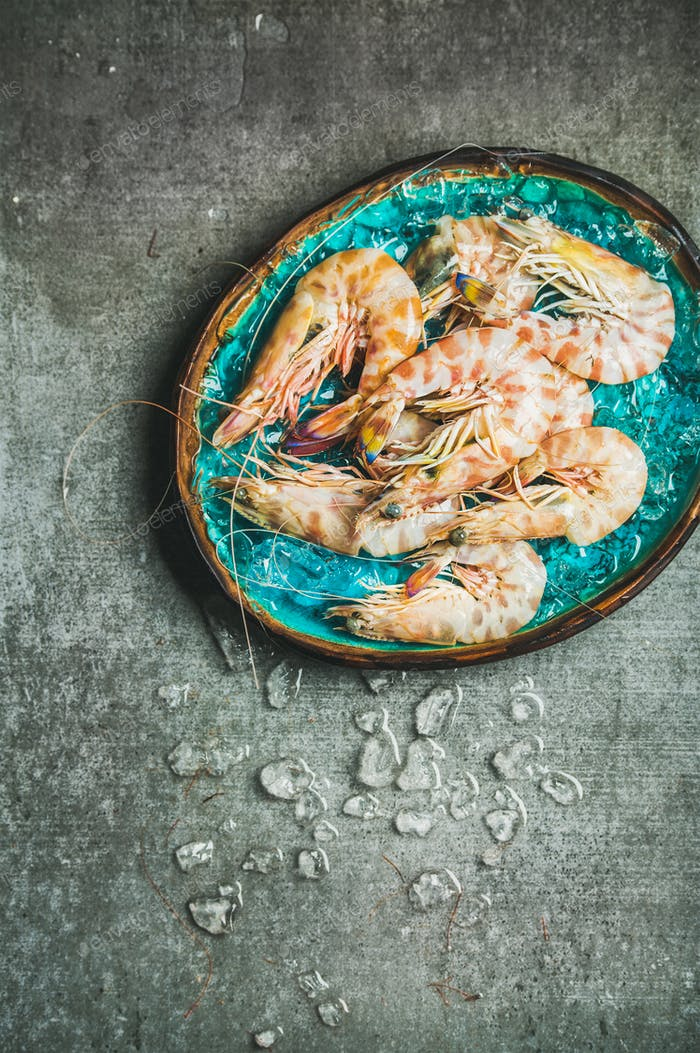 Raw uncooked tiger prawns on chipped ice, grey concrete background