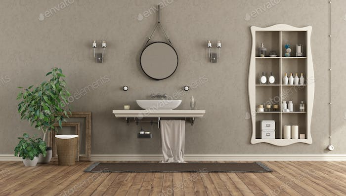 Bathroom with washbasin on shelf in classic style
