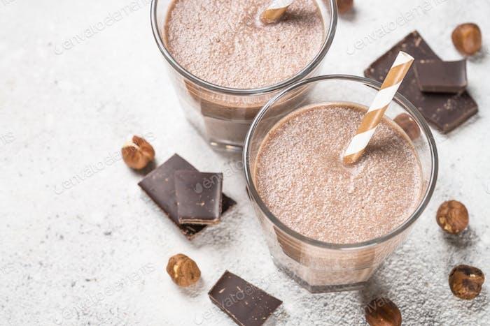 Chocolate coconut hazelnut milkshake or smoothie tclose up