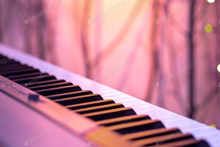 Piano keys on a beautiful colored background.