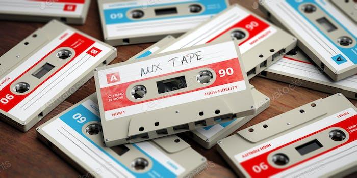 Vintage audio cassettes on wooden background, mix tape label, 3d illustration