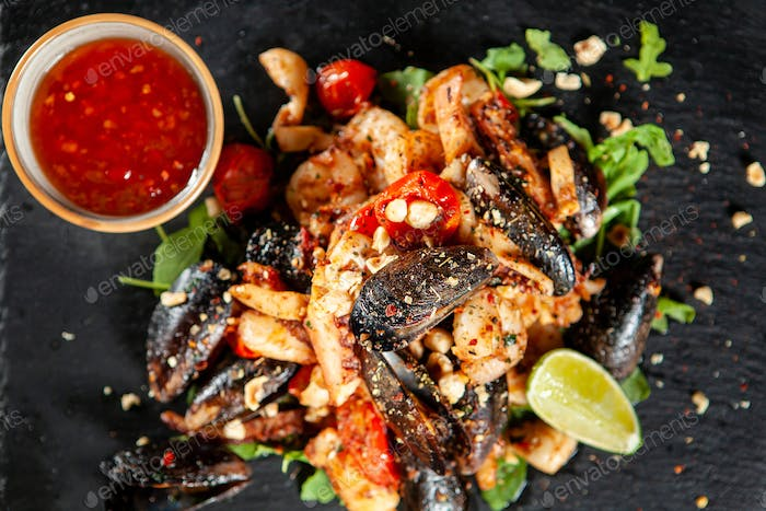 Delicious seafood with spicy sos