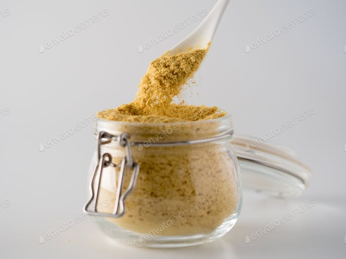 Nutritional inactive yeast in glass jar