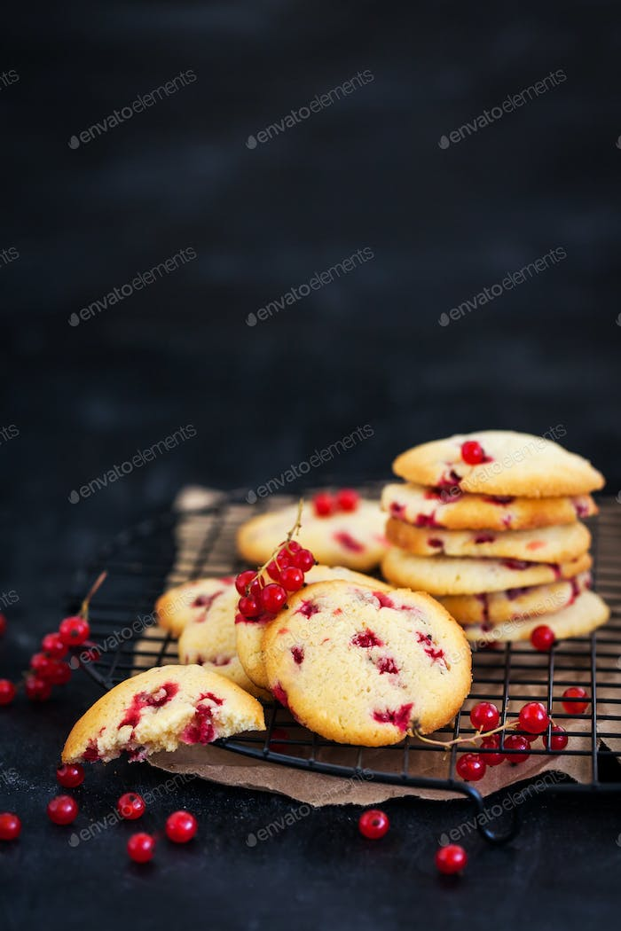 Fresh homemade cookies with red currants on dark background