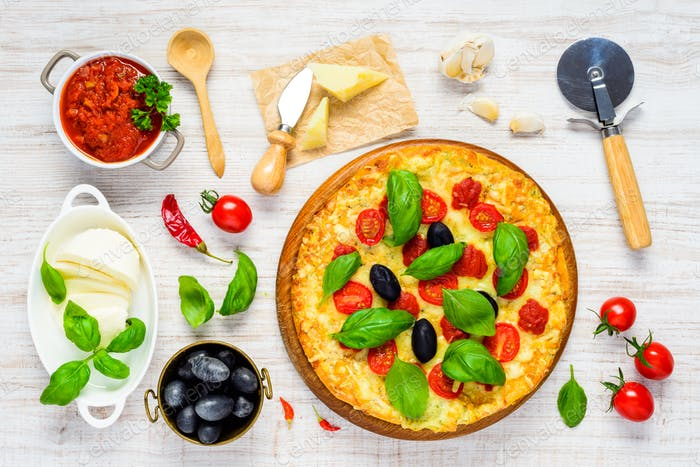 Vegetable Pizza with Ingredients
