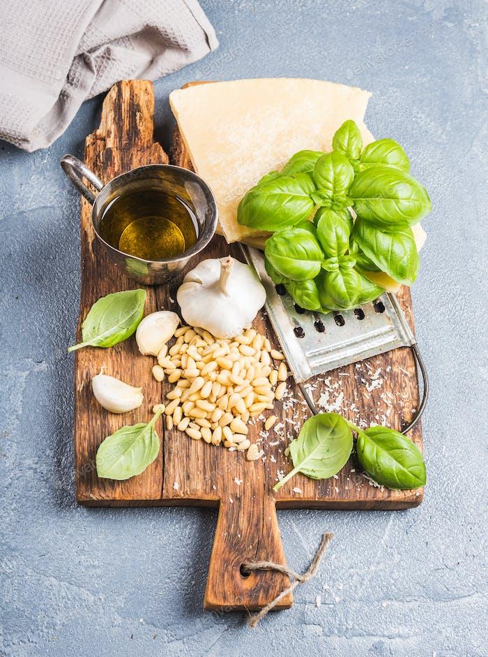 Ingredients for cooking Pesto sauce