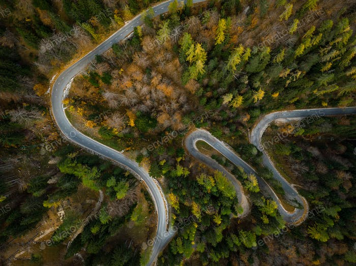 Winding road in mountains, fall woodlands, drone view from above