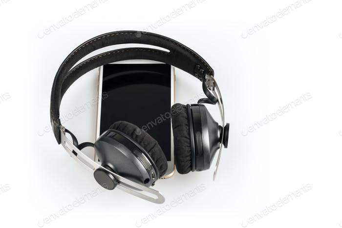 wireless headphones on mobile phone