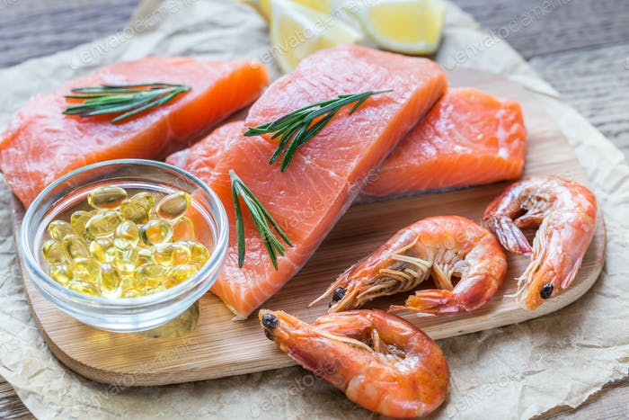 Sources of Omega-3 acid (salmon, shrimps, Omega-3 pills)