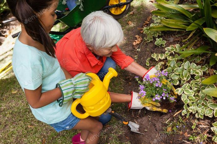 Hohe Ansicht von Mädchen stehend mit Gießkanne von Großmutter Pflanzung