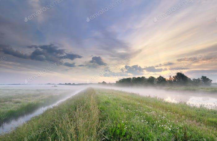 mañana nublada a lo largo del río