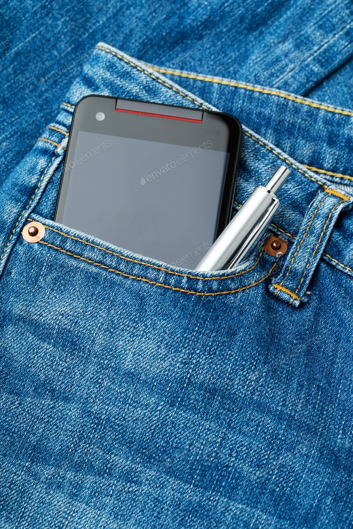 Jeans pocket with phone and pen