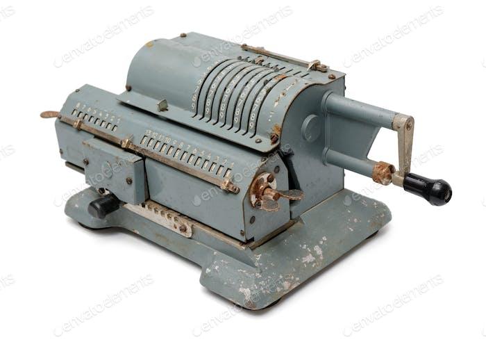 Grauer Vintage-Mechanischer Windrad-Rechner