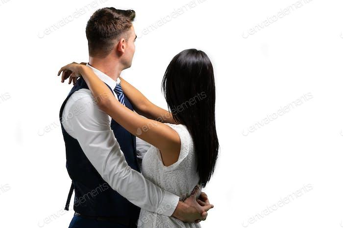 Paar tanzen an ihrem Hochzeitstag