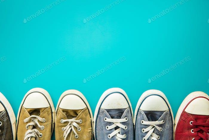 The vintage sneakers.