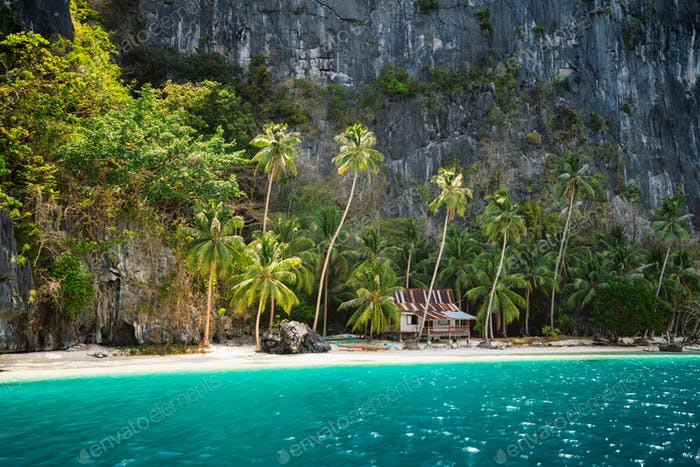 Secluded remote beach with hut under palm trees on Pinagbuyutan Island. Amazing lime stone rocks