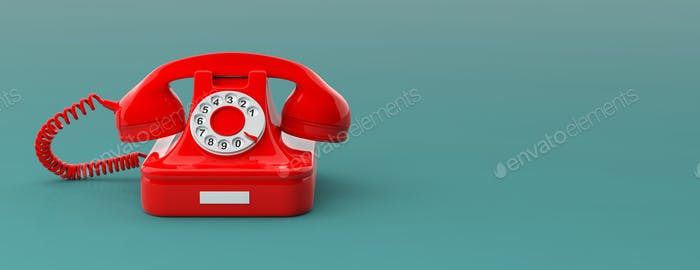 Red vintage telephone isolated on green blue background, copy space, banner.