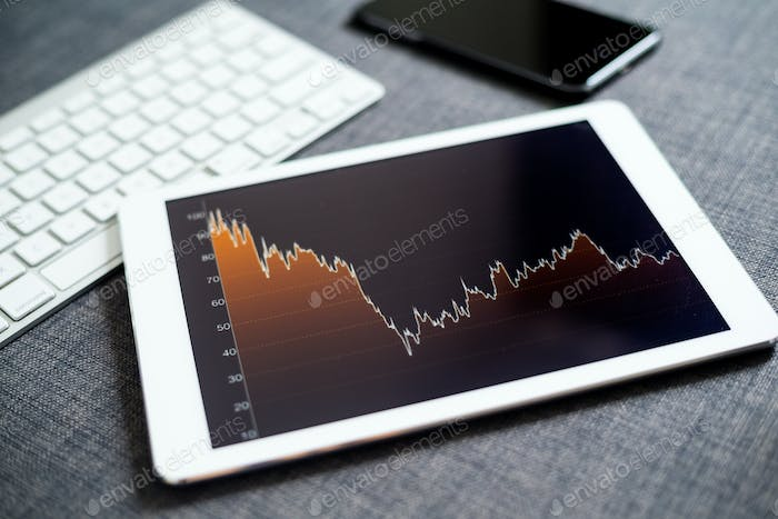 Financial graph on tablet pc