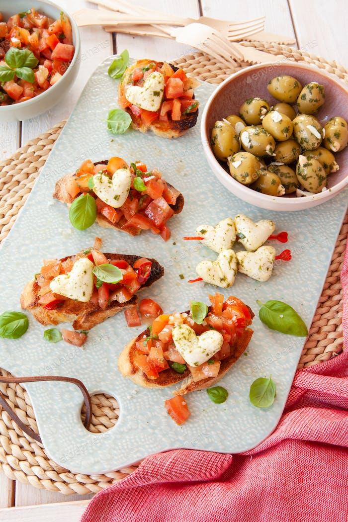 Bruschetta with mozzarella cheese