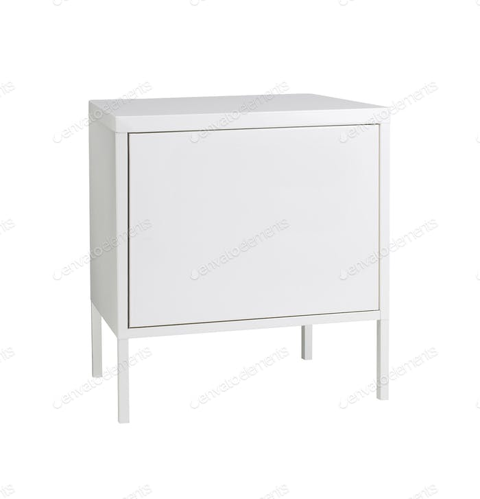 White wooden stand isolated over white