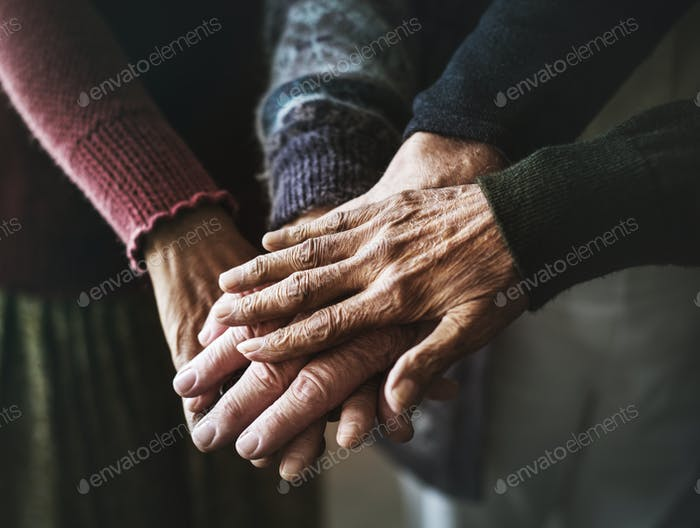 Closeup of hands of senior people