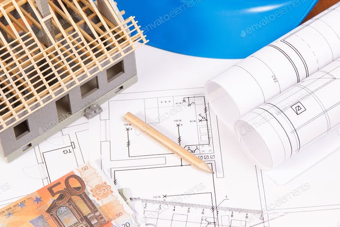 Currencies euro, electrical diagrams, accessories for engineer jobs and house under construction