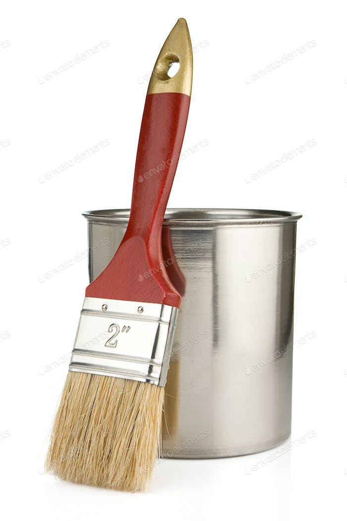 paint buckets and paintbrush isolated on whit