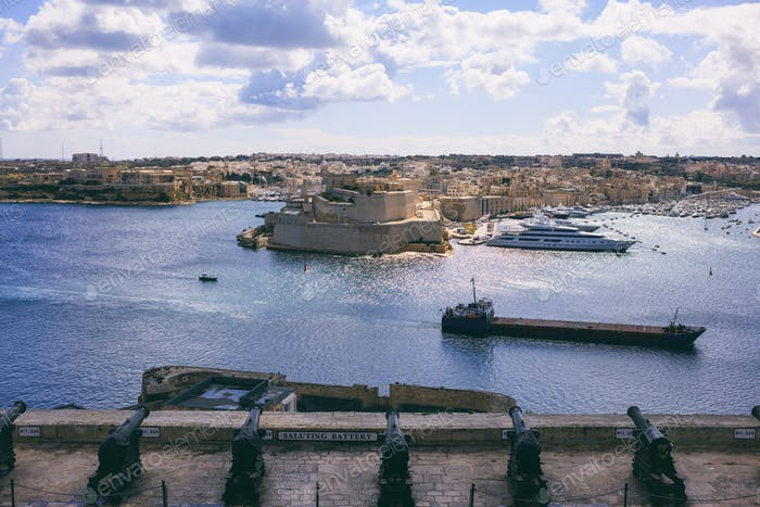 Valletta, Malta. Upper Barrakka Gardens and Saluting Battery. View of Grand harbor