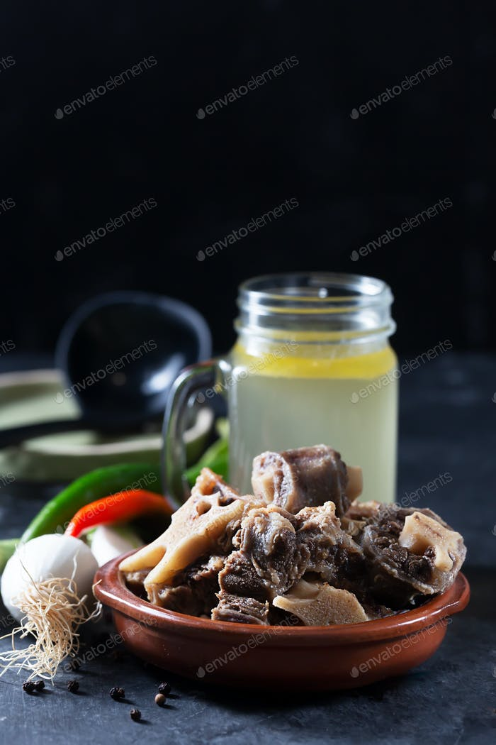 Homemade Beef Bone Broth prepared with bones and meat