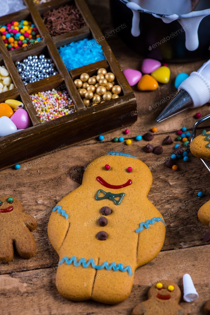 Homemade gingerbread cookies, decorating for Christmas