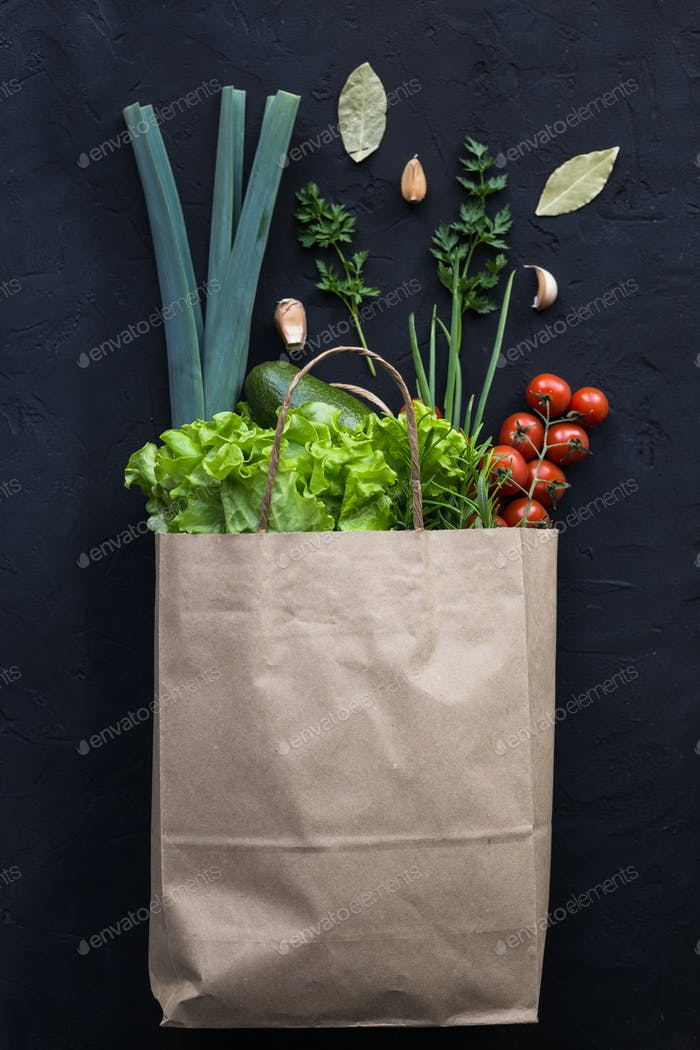 Vegan shopping package of vegetables