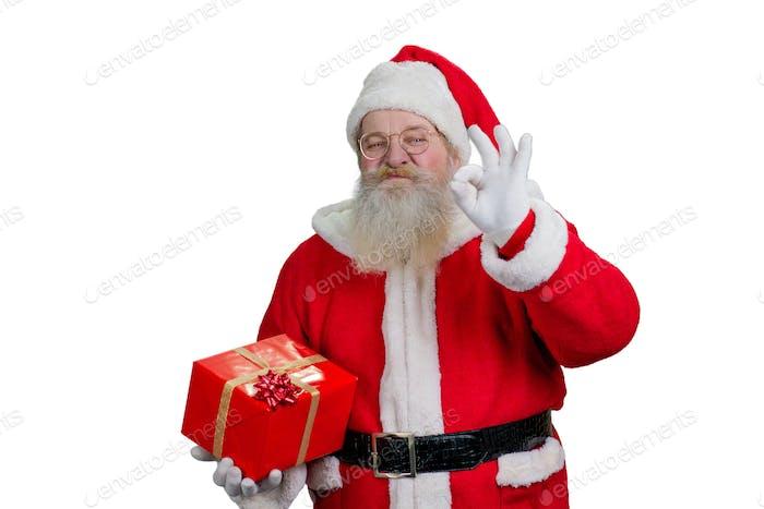 Santa Claus showing ok sign.