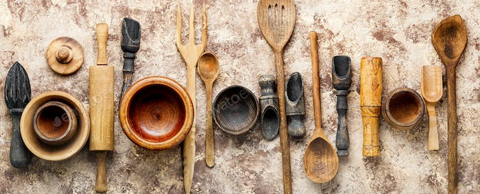Set of wooden cooking utensils