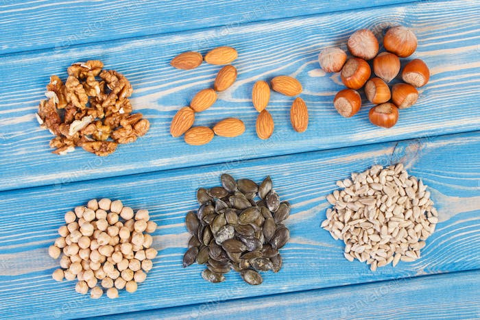 Ingredients containing zinc and dietary fiber, healthy nutrition concept