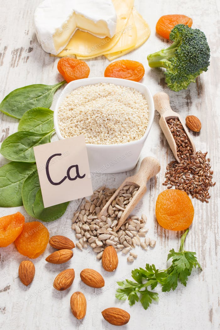 Products or ingredients containing calcium and dietary fiber, concept of healthy nutrition
