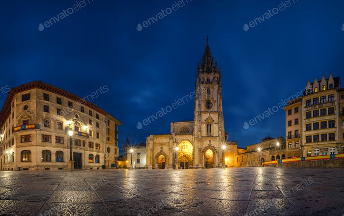 Oviedo, Spain. Panoramic view of Cathedral at dusk
