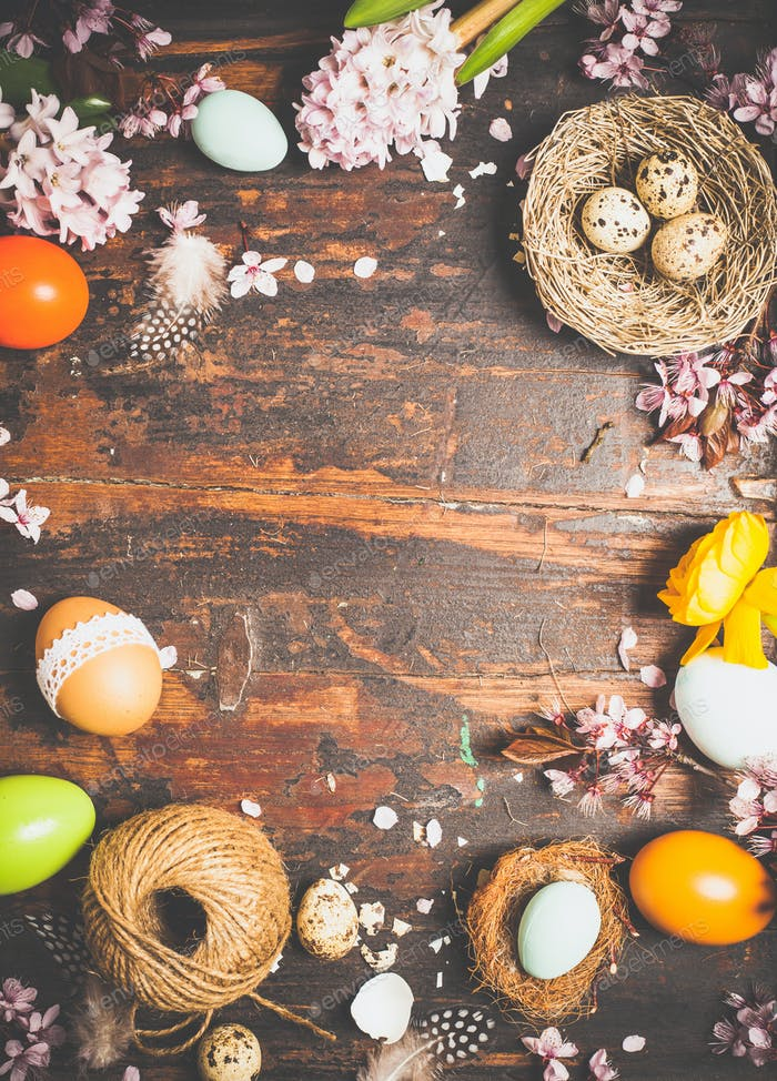 spring flowers and easter decorations