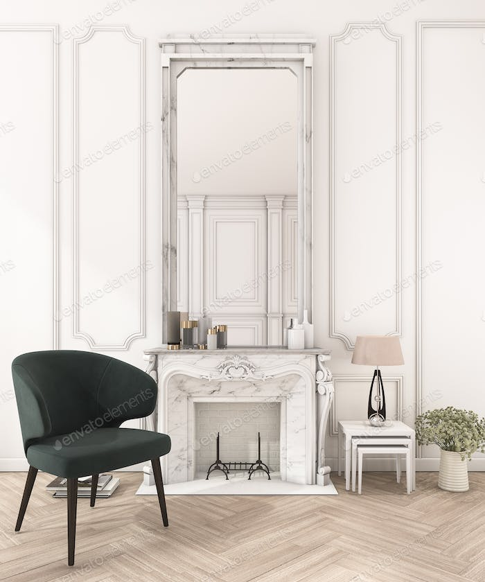 3d rendering white classic wall in make up room