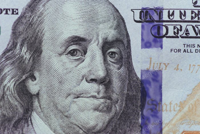 close up of Franklin on 100 dollars bill