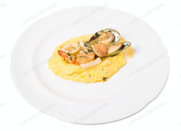 Delicious scallops and mussels with polenta.