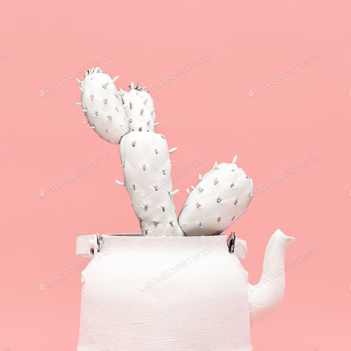 White Cactus in a White Teapot. Minimal style design