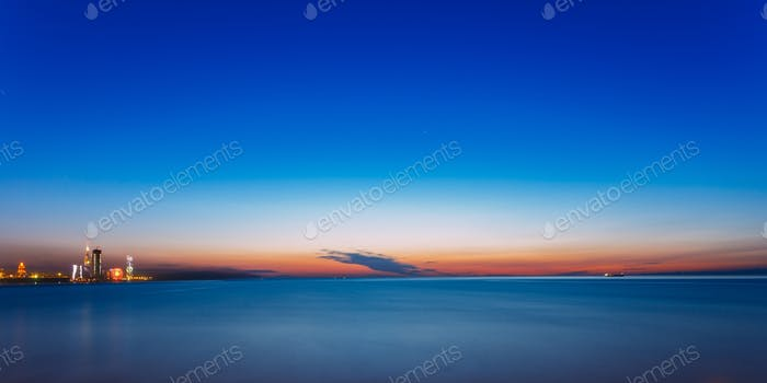 Batumi, Adjara, Georgia. Sunset Or Sunrise. Bright Evening Sky I