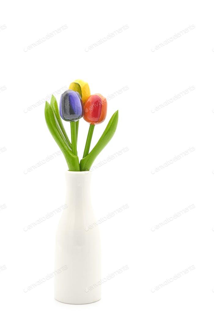 Drei bunte Tulpen