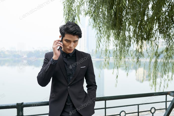 Modern Businessman Talking On Phone