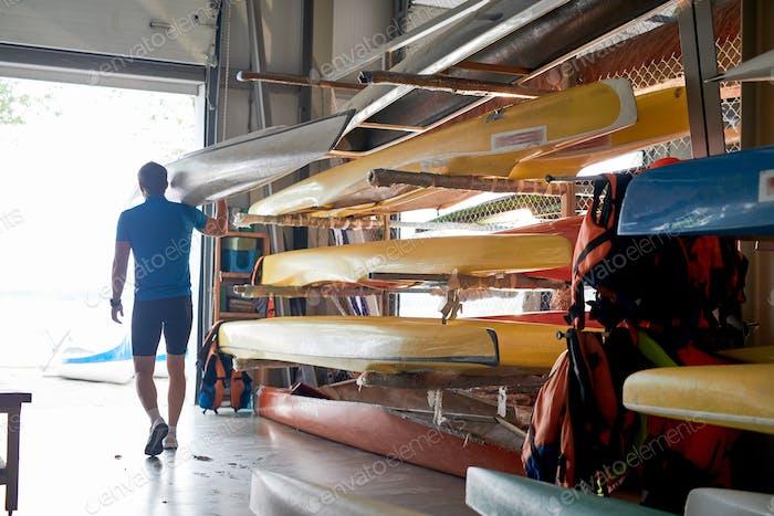 Man at boat warehouse