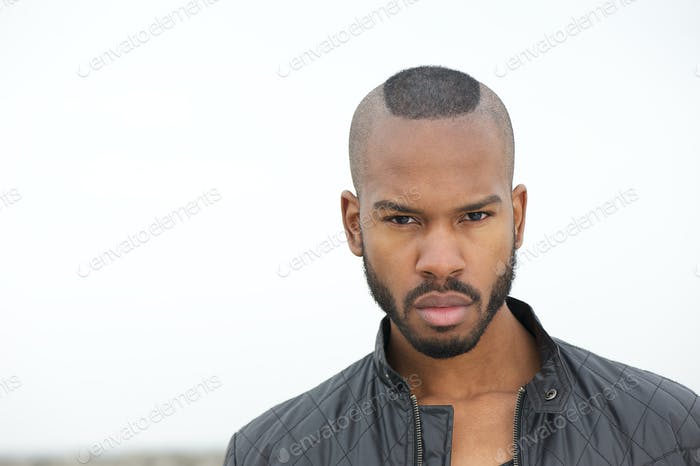 Handsome black man looking at camera